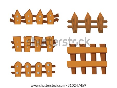 Wood Fence Cartoon Object Stock Vector Shutterstock - Cartoon fence clip art