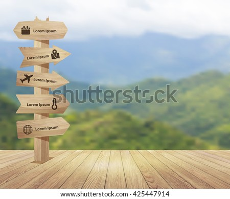Wood floor texture with wooden signpost on beautiful mountain forest landscape blur background, ( Image trace wooden background ) Vector illustration layout template