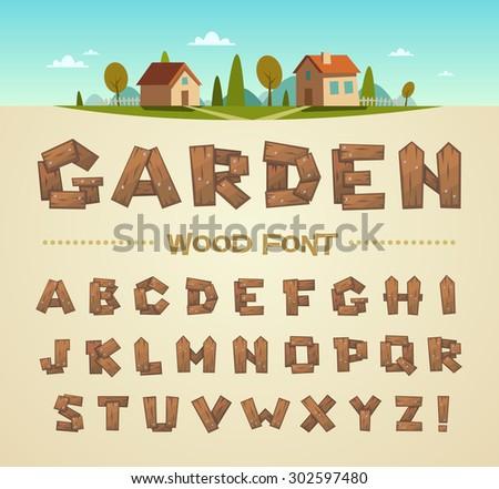 Wood font. Vector alphabet. - stock vector