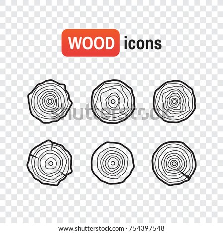 Wood icon logs. Tree rings icons, concept of saw cut runk
