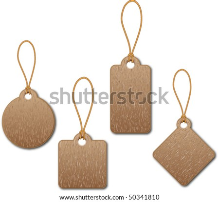 wood label - stock vector