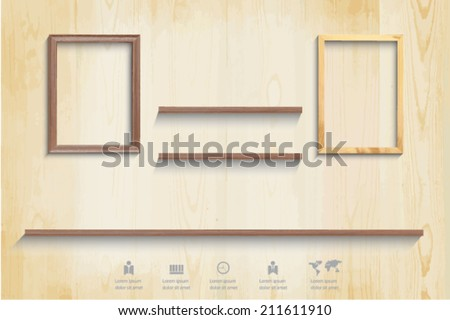Wood picture frame and shelf with shadow, wood background, eps 10 vector. - stock vector