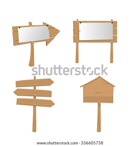 Wood Placard Plank Sign Boards Vector - stock vector