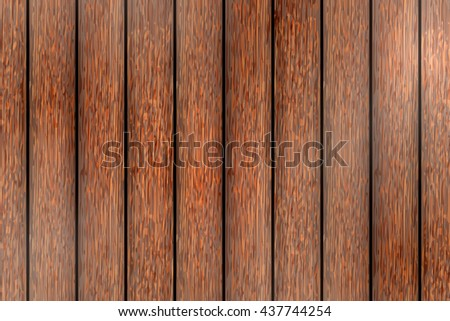 Wood plank texture background. Vector illustration brown wooden background. Walnut color. - stock vector