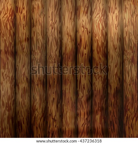 Wood plank texture background. Vector illustration walnut color wooden background. - stock vector