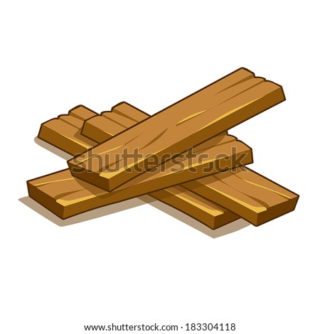 wood planks isolated illustration on white background - stock vector