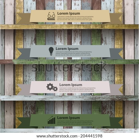 Wood shelf modern design template workflow layout, diagram, step up options banner ribbon on wall, Vector illustration - stock vector