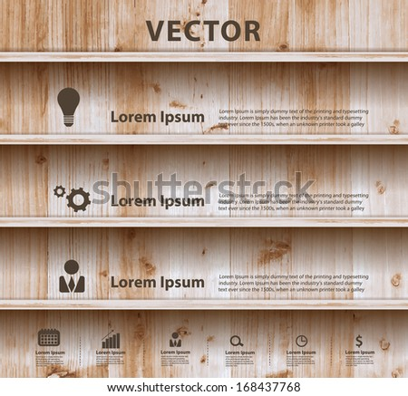 Wood shelf modern design template workflow layout, diagram, step up options, Vector illustration - stock vector