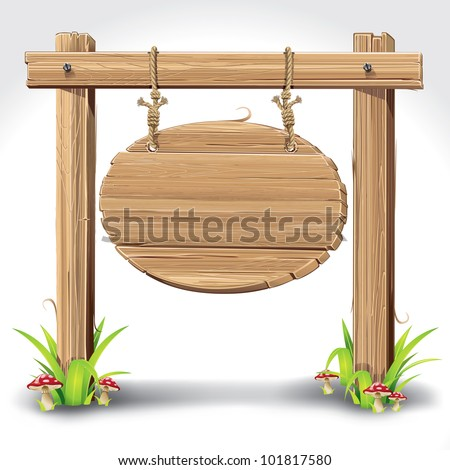 Wood Sign Board hanging with Rope on a grass and mushrooms. vector illustration - stock vector