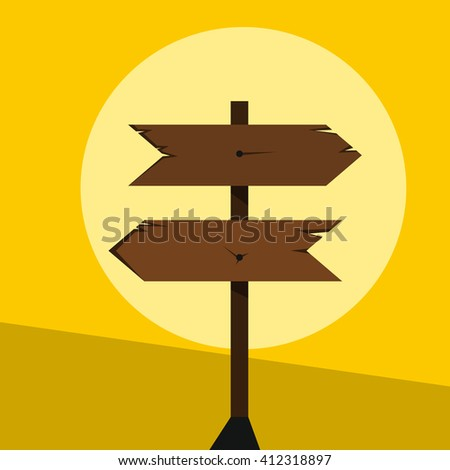 Wood sign in yellow background. Vector illustration
