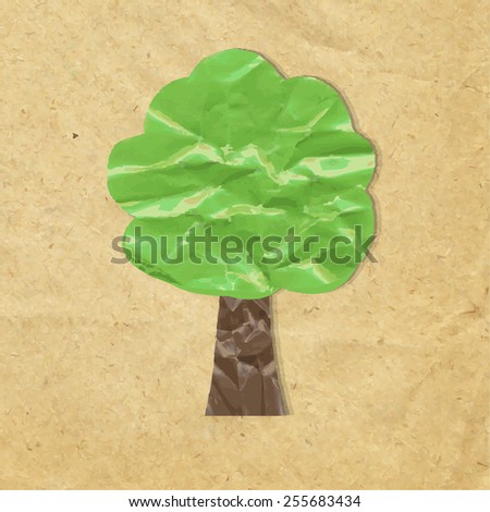 Wood Symbol With Cardboard Paper, Vector Illustration - stock vector