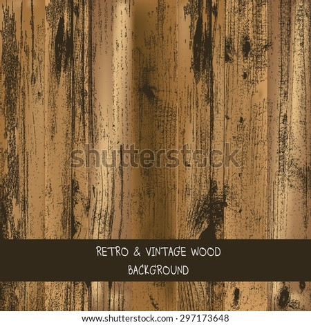 Wood texture. Aged oak planks background.old wood vector illustration. - stock vector