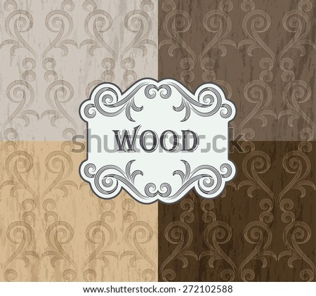 wood texture - old gold color vignette pattern on the multicolor wood background - stock vector