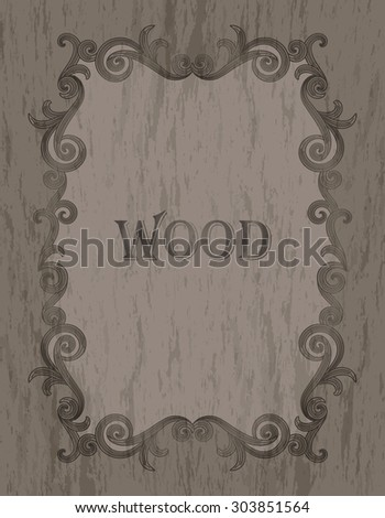 wood texture - vintage dark brown color vignette border on a light cold brown wood background - stock vector