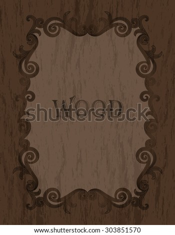 wood texture - vintage dark brown color vignette border on a warm brown wood background - stock vector