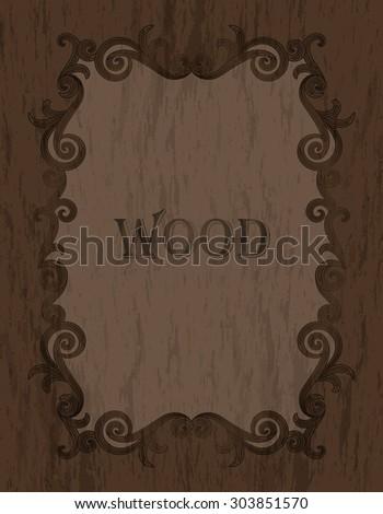 wood texture - vintage dark brown color vignette border on a warm brown wood background - stock vector