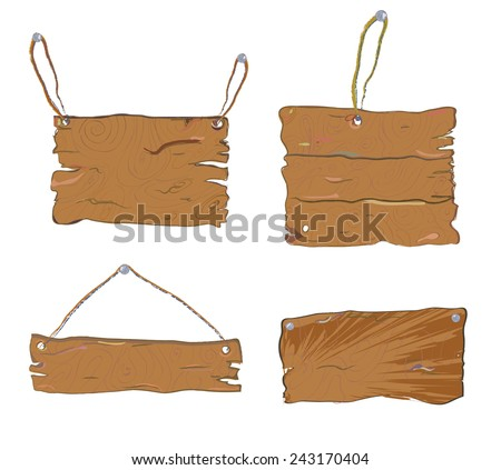 Wood textured tables set - hand drawn design - stock vector