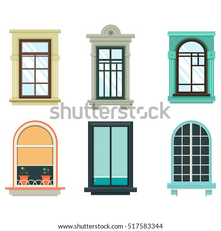 Retro wood wooden window frames view stock vector for Best windows for new home construction