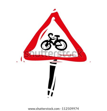 "woodcut engrave illustration of road sign ""bicycle"" - stock vector"