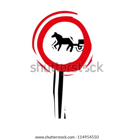 "woodcut engrave illustration of road sign ""Closed to animal drawn carts"" - stock vector"