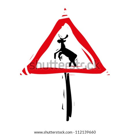 "woodcut engrave illustration of road sign ""deers"" - stock vector"