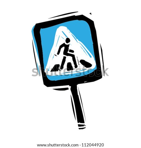 Woodcut engrave illustration of road sign pedestrian crossing - stock vector