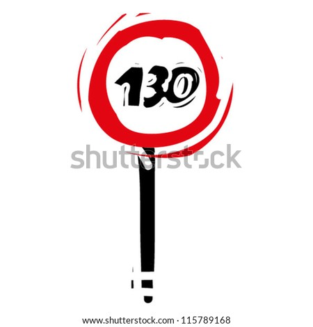 "woodcut engrave illustration of road sign ""speed limit 130"" - stock vector"