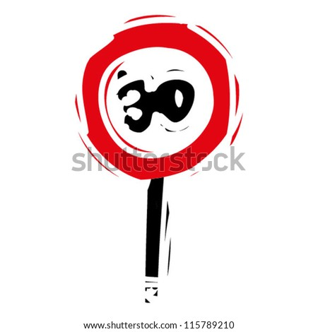 "woodcut engrave illustration of road sign ""speed limit 30"" - stock vector"