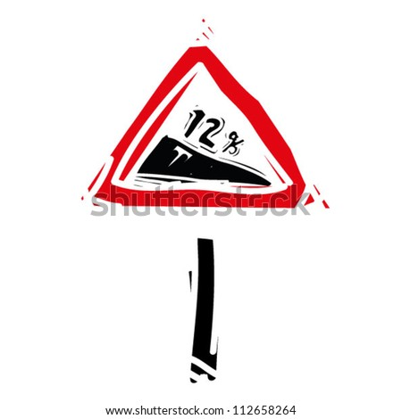 "woodcut engrave illustration of road sign ""tilt road"" - stock vector"