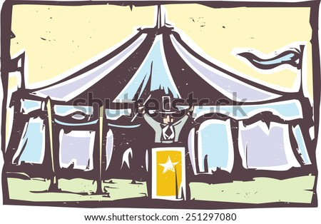 Woodcut expressionist style image of a carnival circus tent. - stock vector