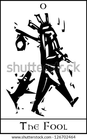 Woodcut expressionist style image of the Tarot Card for the Fool - stock vector