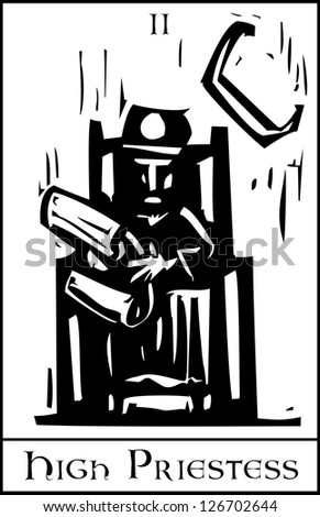 Woodcut expressionist style image of the Tarot Card for the Priestess. - stock vector