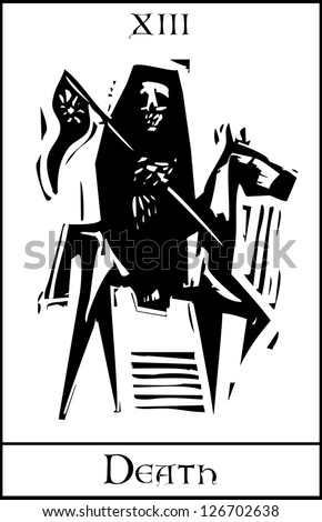 Woodcut expressionist style Tarot card for death number thirteen. - stock vector