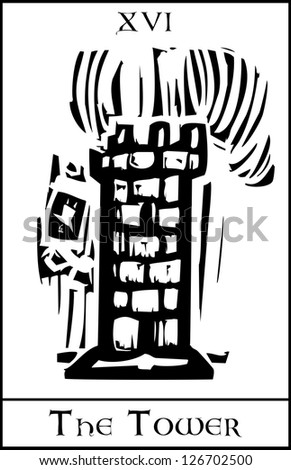 Woodcut expressionist style Tarot card for the number 16 the tower. - stock vector