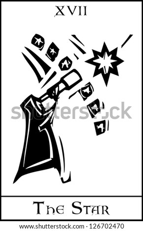 Woodcut expressionist style Tarot card for the Star. - stock vector