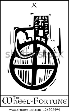 Woodcut expressionist style Tarot Card Major Arcana image of the Wheel of Fortune - stock vector