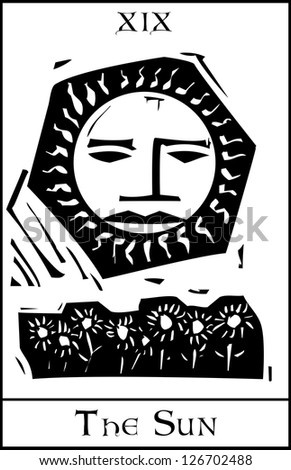 Woodcut expressionist style Tarot sun with face and sunflowers. - stock vector