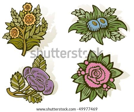 Woodcut Flowers - stock vector