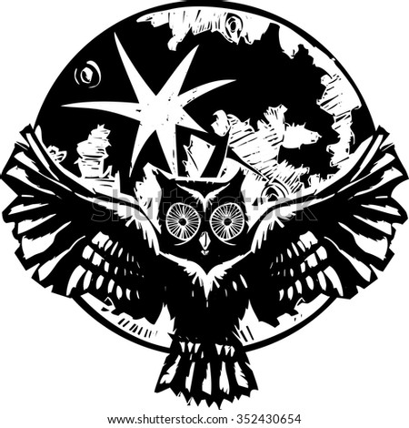 Woodcut flying owl with feathered wings spread in front of a full moon.