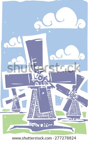 Woodcut print style image of three old style dutch windmills. - stock vector