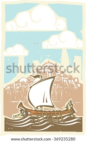 Woodcut style ancient Greek Galley with oars and sail at sea by the Hagia Sophia in Constantinople - stock vector