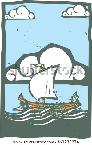 Woodcut style ancient Greek Galley with oars and sail at sea with sky and clouds.