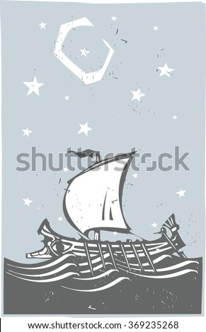Woodcut style ancient Greek Galley with oars and sail at sea with stars and moon - stock vector