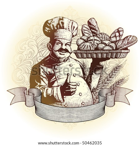woodcut style baker and bread in an ornate frame with scroll ready for your label design. - stock vector