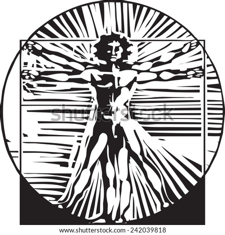 woodcut style expressionist depiction based on Leonardo Da Vinci's Proportions of Man - stock vector