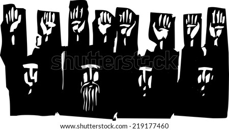 Woodcut style expressionist image of a group of people with their hands raised in surrender. - stock vector