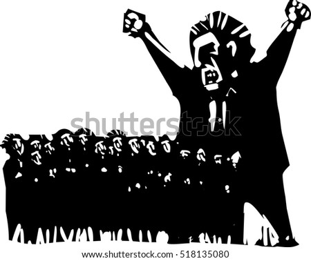 Woodcut style expressionist image of an angry man above a group of scared voters