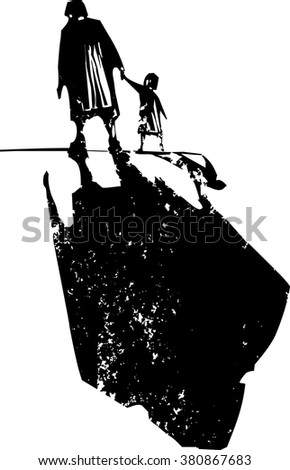 Woodcut style expressionist image of an elderly woman walking in hand with a child.