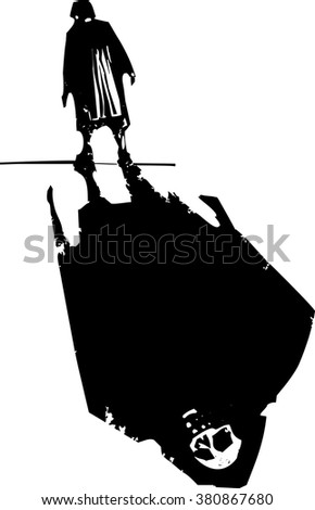 Woodcut style expressionist image of an elderly woman walking with the shadow death. - stock vector