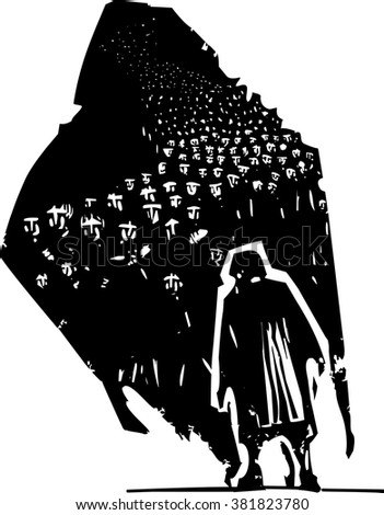 Woodcut style expressionist image of an elderly woman with her shadow having a crowd of refugees - stock vector